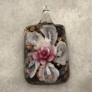 🎠MURANO ART GLASS PENDANT w/ribbon necklace